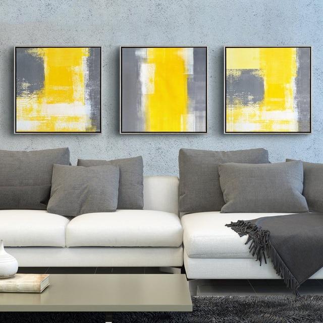 € 8.11 |Jaune et gris moderne minimaliste peinture abstraite toile  décorative peintures salon canapé toile de fond mur Art photo dans Peinture  et ...