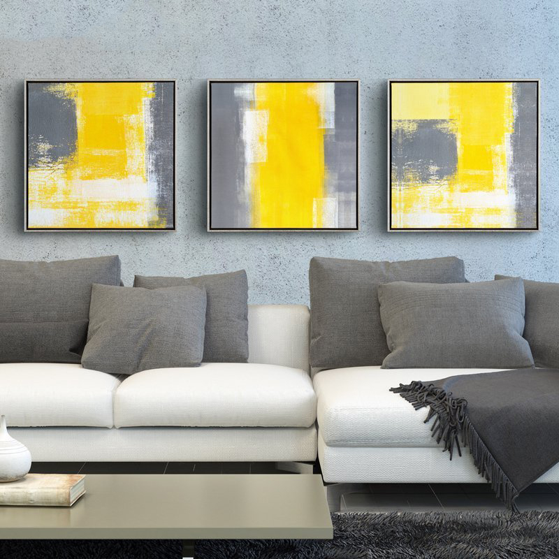 Yellow And Grey Modern Minimalist Abstract Painting Decorative Canvas  Paintings Living Room Sofa Backdrop Wall Art Picture In Painting U0026  Calligraphy From ...