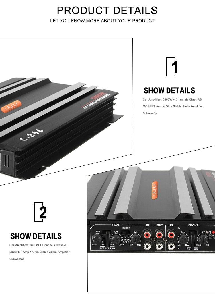 Black Car Amplifiers 5800W 4 Channels Class AB MOSFET Amp 4 Ohm Aluminum  Stable Audio Amplifier Subwoofer Car Parts