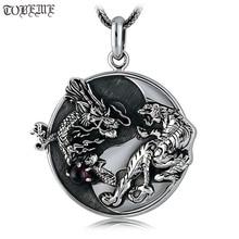 Ручная работа 100%, серебряный дракон, фэн шуй, подвеска «Инь Ян», ожерелье, амулет на удачу