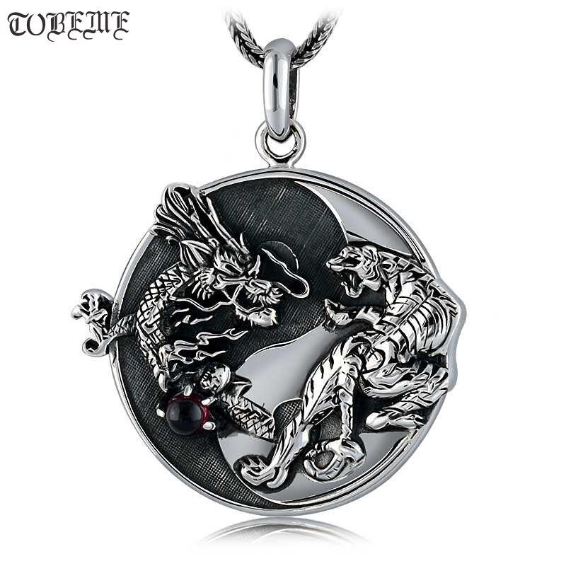 Fait à la main 100% 925 argent Dragon tigre pendentif collier 925 Sterling Fengshui Taichi Yinyang pendentif collier bonne chance amulette