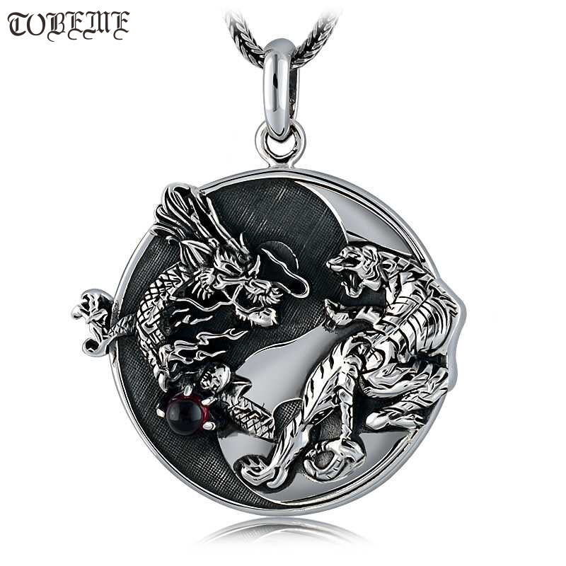 Handmade 100% 925 Silver Dragon Tiger Pendant Necklace 925 Sterling Fengshui Taichi Yinyang Pendant Necklace Good Luck Amulet-in Pendant Necklaces from Jewelry & Accessories    1