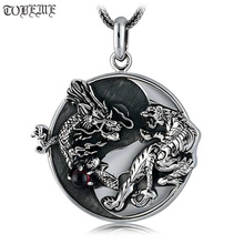 Handmade 100% 925 Silver Dragon Tiger Pendant Necklace 925 Sterling Fengshui Taichi Yinyang Pendant Necklace Good Luck Amulet
