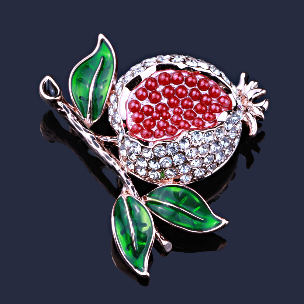 b45eb7230c3cd US $1.96 51% OFF|FARLEENA Jewelry Exquisite red pomegranate brooch with  full rhinestones fashion painted brooches pins for women-in Brooches from  ...