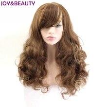 JOY & BEAUTY Peluca de largo ondulado inclinado de flequillo, fibra de alta temperatura, marrón dorado, mezcla de Color sintético, pelucas para mujer de 24 pulgadas