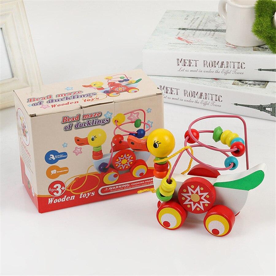 8ed6385aadc15b Baby Houten Speelgoed Zuigeling Eendje Trailer Speelgoed Kinderen peuter speelgoed  9 maanden tot 3 Jarigen Puzzel speelgoed voor kids Gift CU69 in Baby ...