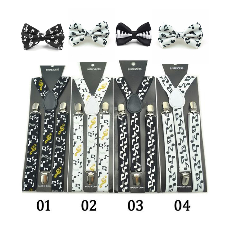 Fashion Kids Men Unisex Suspender Set Office Casual Elastic Suspenders Music Piano Y-Shape Clip-on Braces With Bow Tie