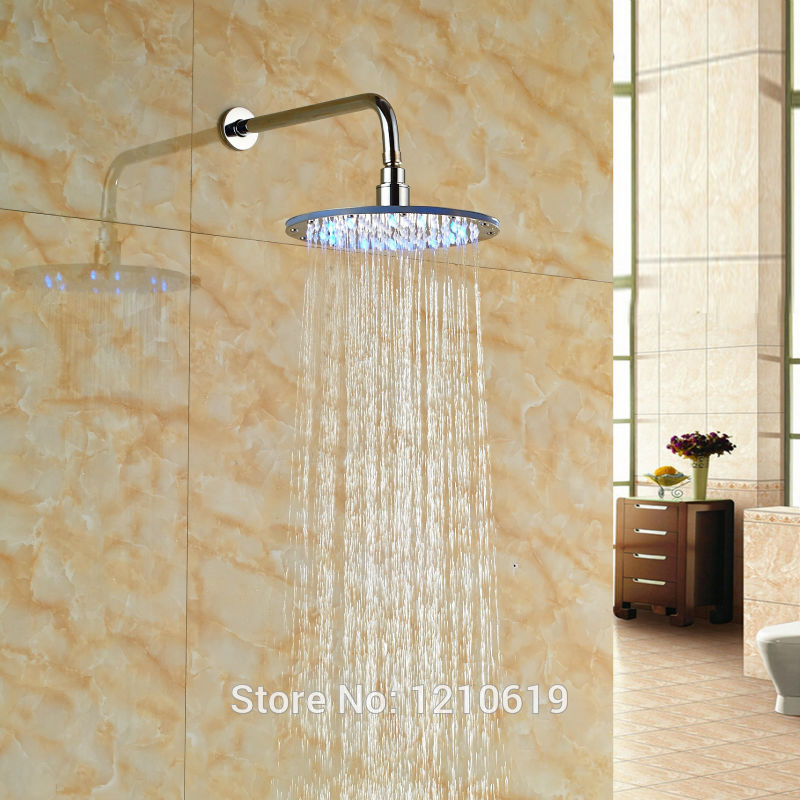 Newly Brass 10 Inch Bathroom Shower Head w/ Shower Arm LED Color Changing Round Top Shower Sprayer 8 square led color changing shower head wall mount bathroom top head brass shower arm