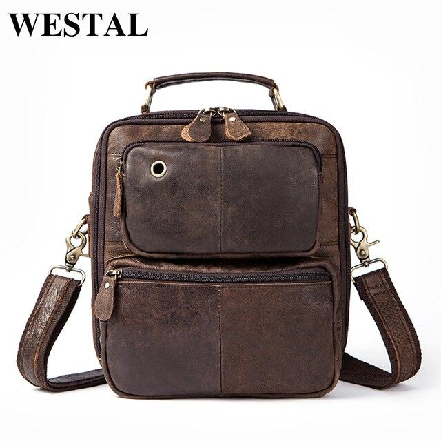 ba9f542908 WESTAL Genuine Leather Men s Bags Male Crossbody Bags Small Flap Casual  Messenger Bag Men s Shoulder Bag genuine leather 8951