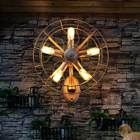 Novelty Retro Loft Vintage Old Fan Wall Lamp Sconces Nordic Home Lighting Fixture 5 Light