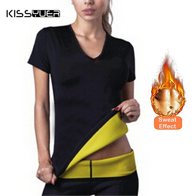 73aa89a772fcd Women Slimming Shirt Sauna Suit Hot Sweat Shapewear Short Sleeve Waist  Tranier Neoprene Fitness Tops Body Shaper Weight Loss