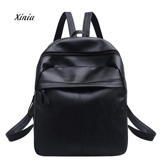 Women S Leather Backpack Fashion Satchel Travel School Shoulder Bag Student Book Bags Rucksack Simple Large