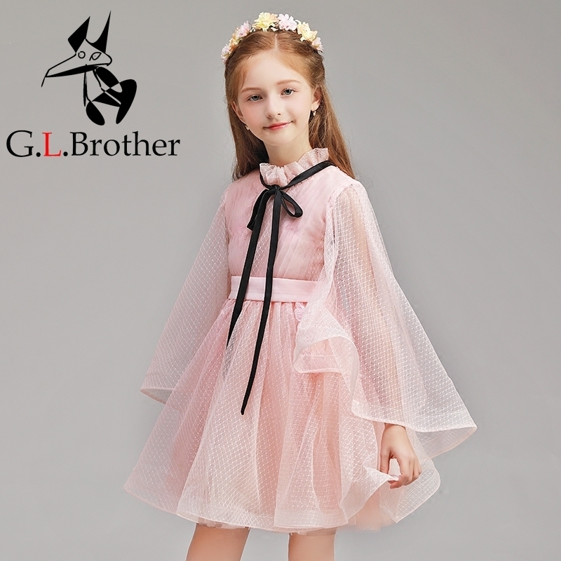 New Floral Girls Ball Gown Dress Luxury Emboridery Mesh Dresses Flare Sleeve Cute Kids Vestido Banquet Birthday Party Gowns S268 цена 2017