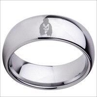 Darmowa Wysyłka Olaciao Biżuteria Gorąca Sprzedaży 8mm Polski Sliver Gen Simmons Pocałunek Mens Węglik wolframu Wedding Ring