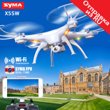 цена на Syma X5SW WiFi Drone with Camera FPV Quadcopter X5SC HD Dron 2.4G 4CH 6-Axis RC Helicopter 4 Batteries and 4 Motors as Gift