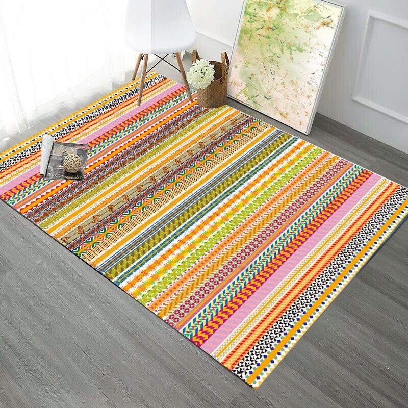 Ethnic Boho Colorful Striped Irregular Geometric Soft