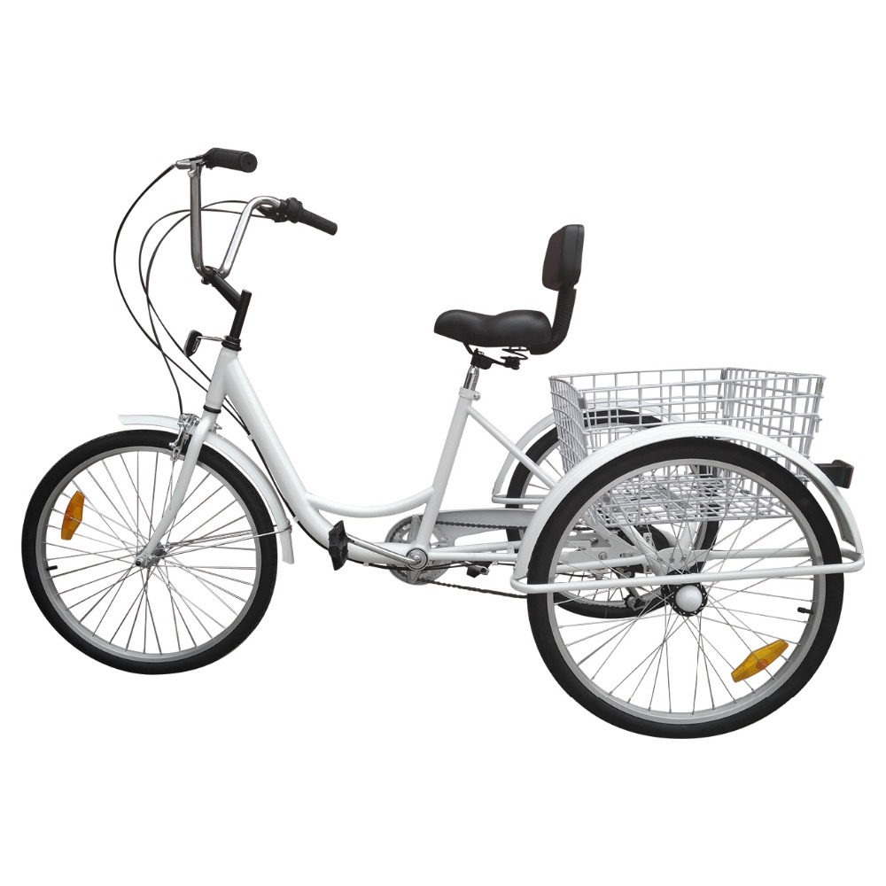 White 3 Wheel Tricycle 24 inch Adult Bike 6 Speed Cruise bicycle with Basket for man woman elderly shopping