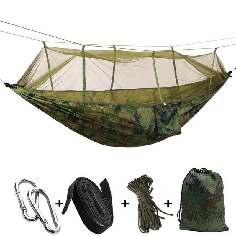 Outdoor camping hunting parachute cloth hammock with mosquito net ultra light nylon double camping aerial tent hanging bed outdoor hammock nets widened double parachute cloth ultra light mosquito net hammock camping indoor swing