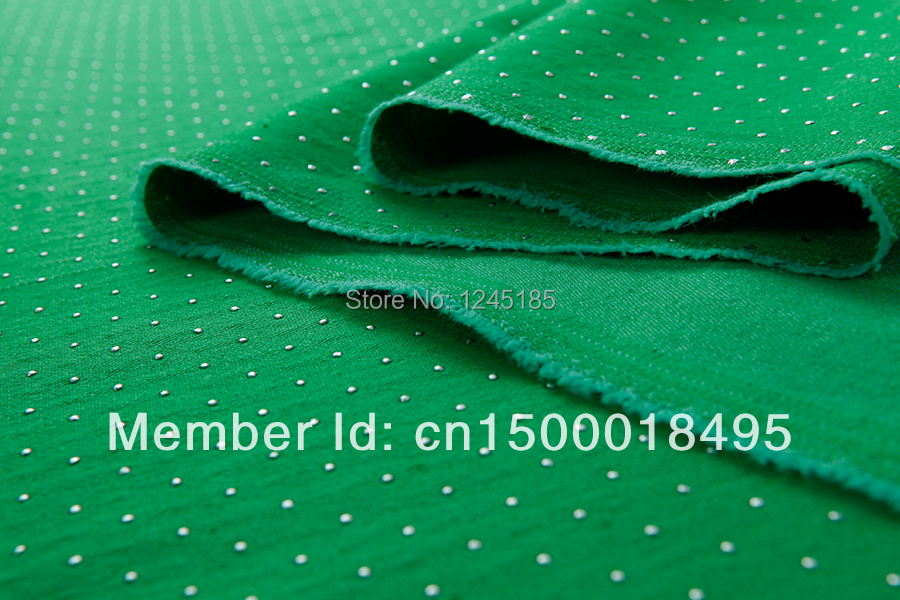 Cotton& spandex fabric--elastic cotton fabric polka dots against green background for dress shirt pants skirt top by yard