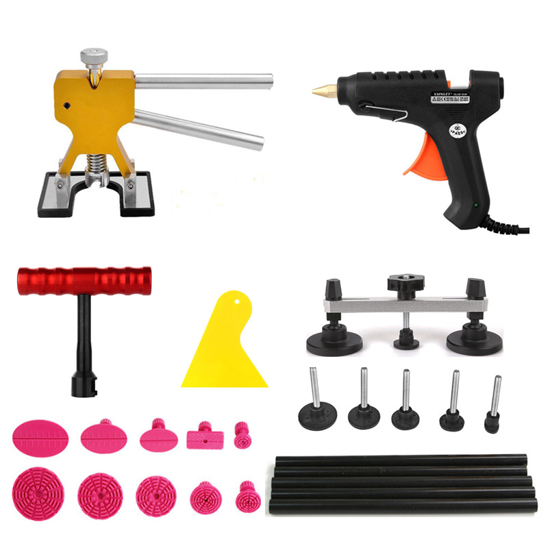 PDR car dent removal tools dent puller pulling bridge lue gun glue sticks 20pcs hand tools kit auto body dent repair pdr tools auto repair tools for car kit dent removal paintelss dent repair mini lifter glue gun pulling bridge puller glue tabs