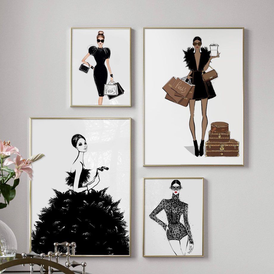 Fashion Girl Skirt Handbag Paris Brand Wall Art Canvas Painting Nordic Posters And Prints Wall Pictures For Living Room Decor