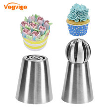 VOGVIGO 2PCS 304 Stainless Steel Pastry Nozzles Cake Decorating Tools Dessert Decorator Flower Confectionery