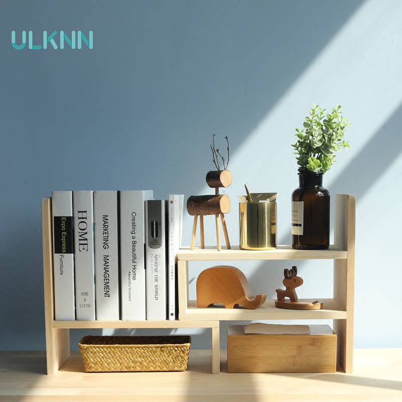 Solid Wooden Desk Multi functional Simple Desktop Small Bookshelf Mini Provincial Space Shelf for Storage Office Student Desk