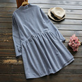 Spring Women's Plus Size Casual Sweet Long Sleeved Button Plaid Ruffle Loose Cute Kawaii Female Dress Mori Girl U531