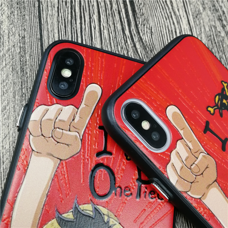 One Piece Luffy Japan Anime case for iPhone X 8 7 6 6S plus hard plastic 3D Emboss phone cover for iphone X Coque fuandas cases in Fitted Cases from Cellphones Telecommunications