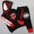2016 Verão Nova Meninos Spiderman terno Dos Esportes camisa + Pant 2 pçs/set Treino Crianças Roupas Casuais define Bebê Curto-terno de mangas compridas