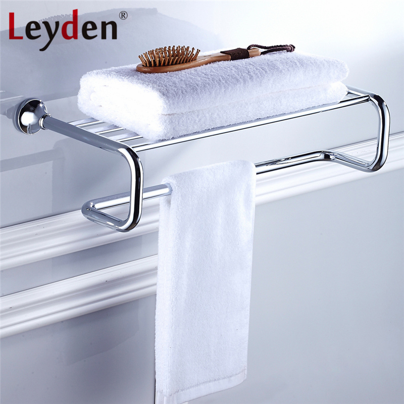 Leyden Bath Towel Rack Shelf ORB/ Antique Brass/ Golden/ Chrome Towel Holder with Towel Bar Wall Mounted Bathroom Accessories