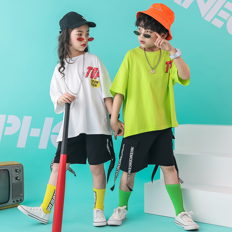 Kids Hip Hop Costumes for Girls Boys Loose Short Ballroom Dance Clothes Performance Exhibition Suits Dancewear Dancing Costume