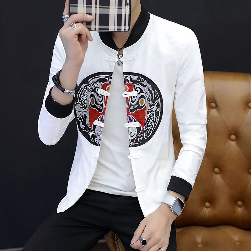 Chinese Style Men Long sleeved Jackets Classic Design Men's Button Coats Black Red Casual Embroidery Jacket Man