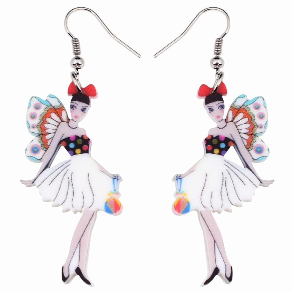 Bonsny Fashion Big Long Fairy Acrylic Drop Dangle Drop Butterfly Wings Earrings 2018 News Style Fashion Jewelry For Girls Women