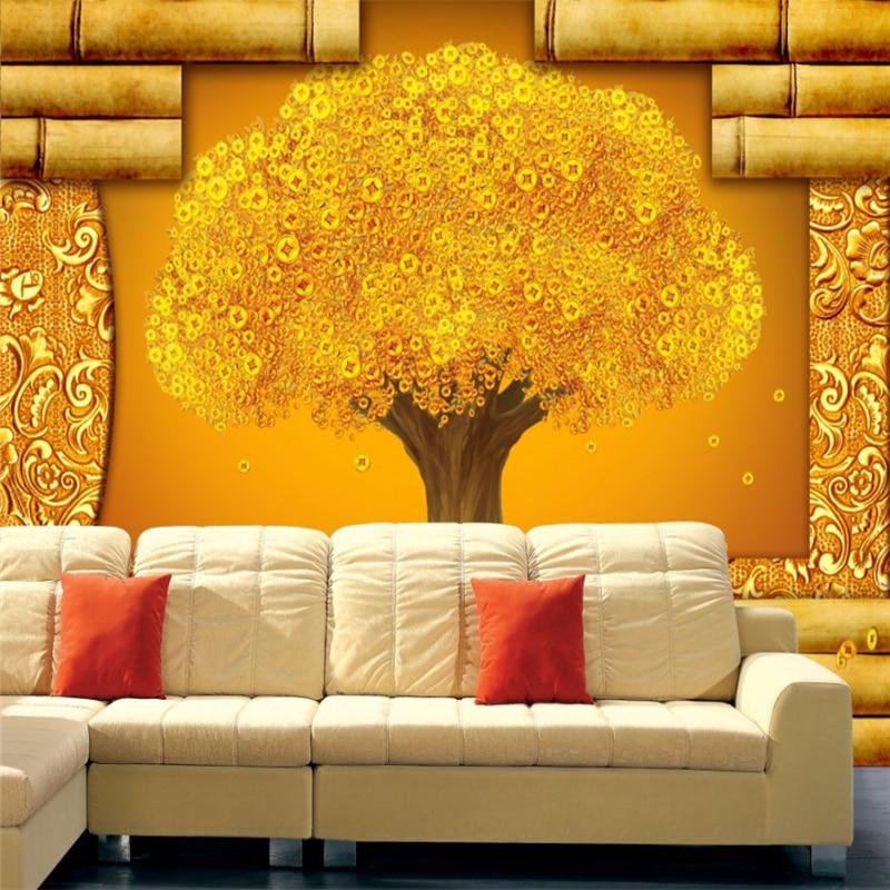 29679ac76 Beibehang papel دي parede سلس جدارية كبيرة خلفيات غرفة المعيشة أريكة غرفة  نوم التلفزيون خلفية عملات شجرة جدار تغطي