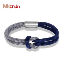 MKENDN High Quanlity Men Women Color mixing Knot Leather Stainless Steel Magnet Buckle Navy Style Friendship Jewelry Pulseras(China)