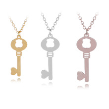 10 love heart lock unique symbol key necklace unlocking tool animal Hollow bear jewelry