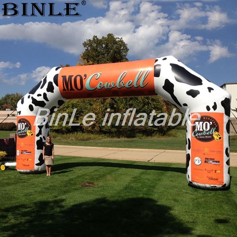 Arc gonflable de publicité de porte gonflable polychrome adaptée aux besoins du client d'arc d'entrée avec le logo pour la ferme de lait