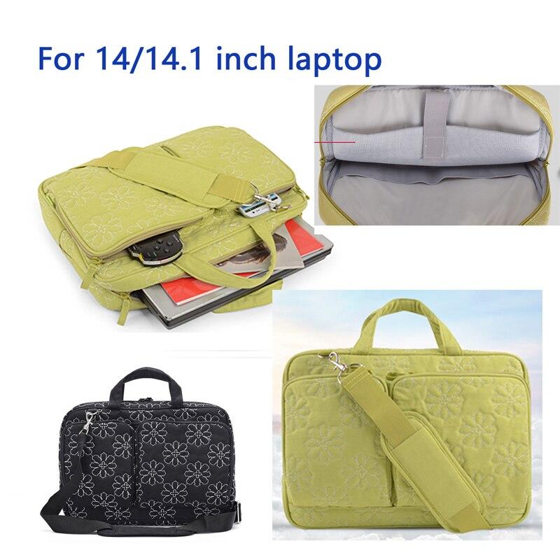 Black Green laptop handbag shoulder bag for woman girl 14 14.1 inch notebook bag for hp sony dell free shipping