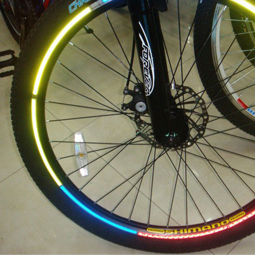 5 pieces/bag bicycle wheel reflective sticker DIY outdoor cycling Rim accessories fluorescent decal reflection 21*0.5 cm