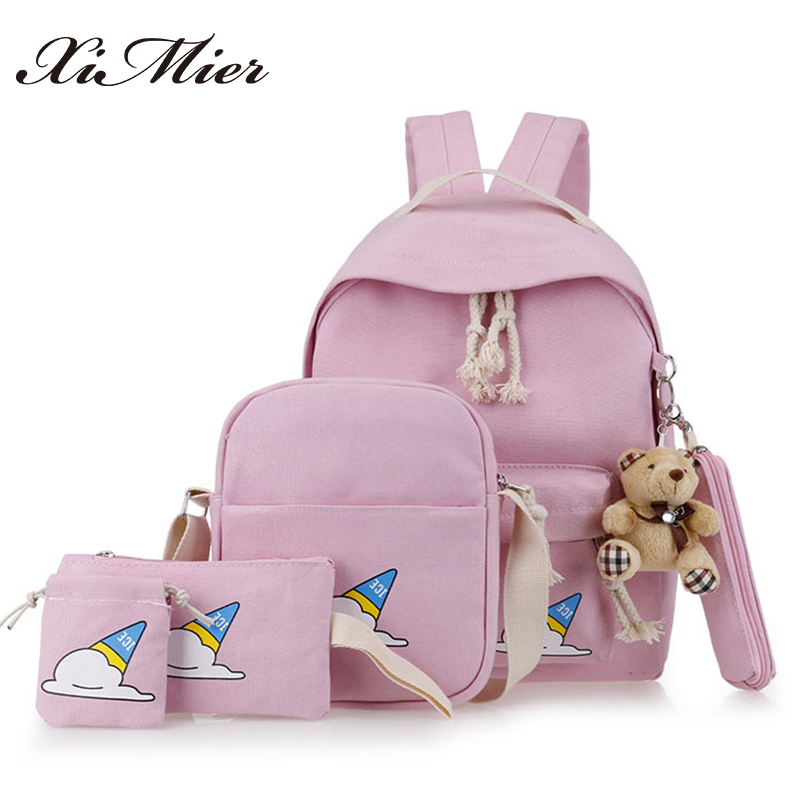 2017 cute bear canvas backpack 5pcs/set ice cream printing student school bag for girl travel rucksack XIMIER women backpacks harajuku style ice cream printing backpack high middle school student shoulder bag backpack for teenager girls casual travel bag