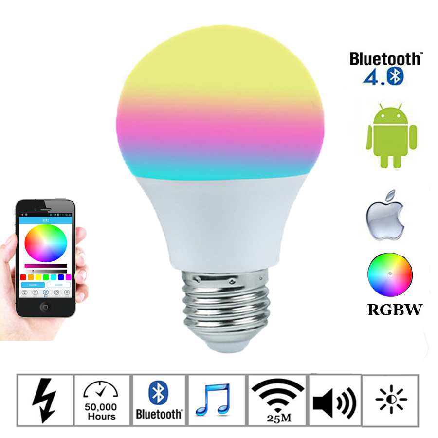E27 Bluetooth Led Bulbs 4.5W RGBW Lamps 110V 220V 4.0 Smartphone Controlled Lamp Color Changeable For Home Hotel