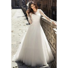 Romantic Lace Top Long Sleeve Beaded Wedding Dress Illusion Scoop Bridal Gown A Line Dresses Formal Gowns Robe De Soiree