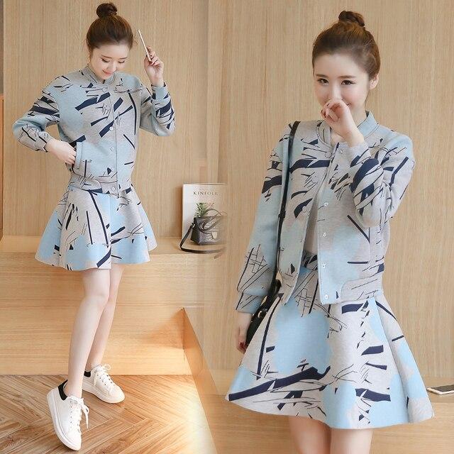 Мода женщины устанавливает печати пиджак + юбка 2 шт. набор женщин из двух частей набор женский костюм топы Европа марка осень набор девушка весна