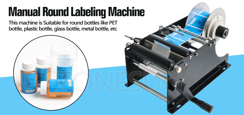 Zonesun Manual Round Labeling Machine With Handle For Self Adhesive