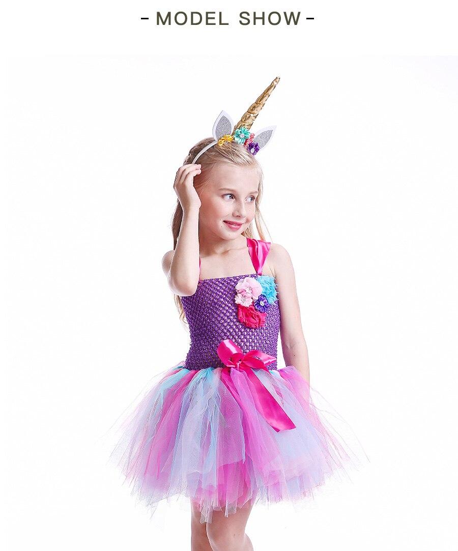 Kids Girls Unicorn Tutu Dress with Headband Knee-Length Pastel Rainbow Flower Girl Dress Kids Halloween Pageant Party Costume (6)