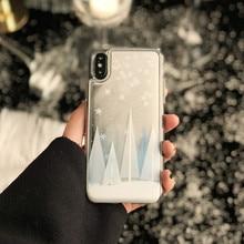 Luxury 3D Christmas Cedar Clear Phone Case For iPhone X 8 7 6 S 6S Plus Glitter Dynamic Liquid Snowflake Cover