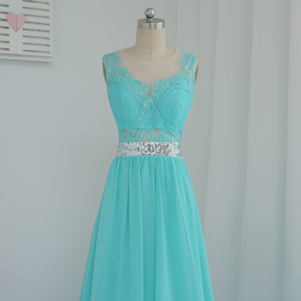A-line See Through Mint Green Chiffon Lace Sequins Bridesmaid Dress