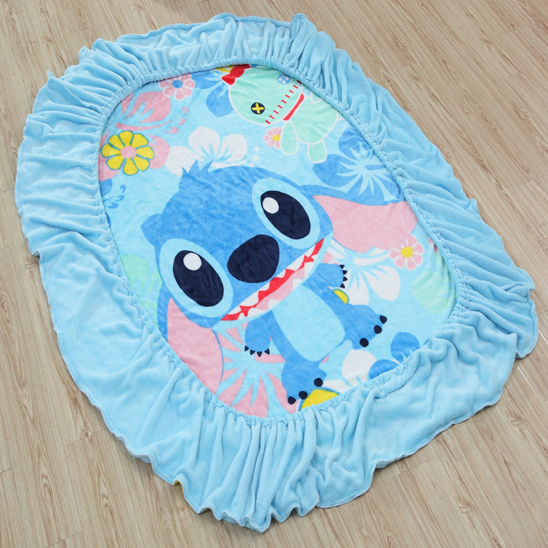Disney Stitch Flannel Fitted Sheet with an Elastic Band Bed Sheets Linen Bedspread Polyester Mattress Cover Single Twin Full ...