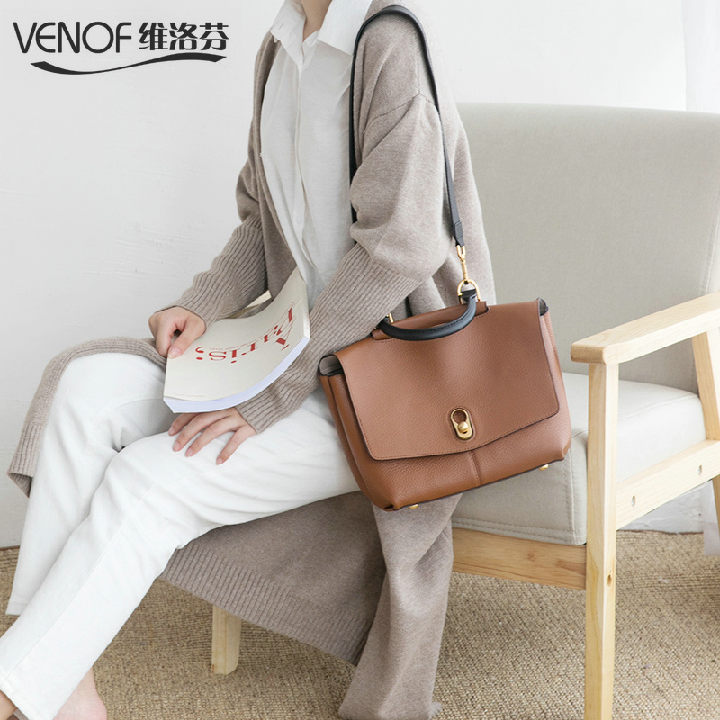 VENOF Real Cow Leather Ladies HandBags Women Genuine Leather Tote bags shoulder Bag Hign Quality Designer Luxury Brand Bag 2018 oln brand designer women s shoulder bag genuine leather handbags for female real cow women messenger bags ladies tote bags